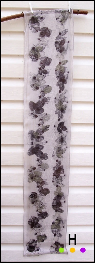 rose leaf eco print scarf