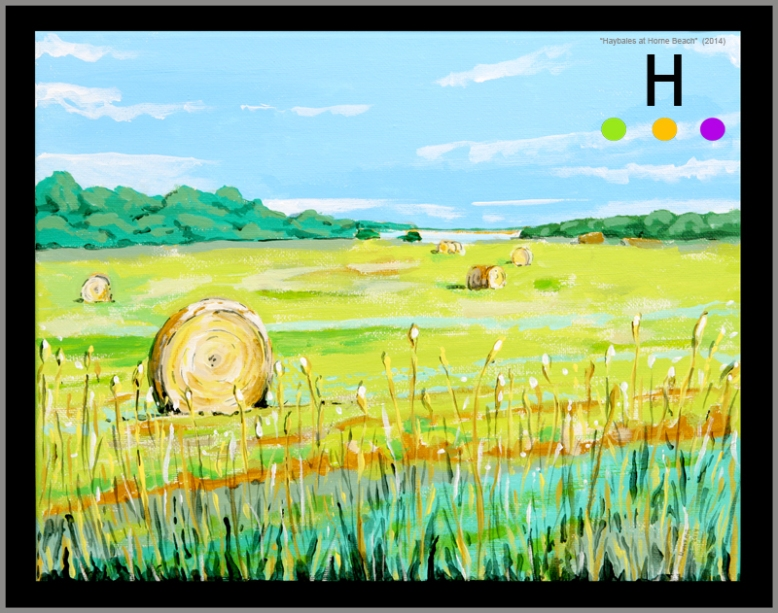 """Hay Bales at Horne Beach"" (2014) 11 inches by 14 inches acrylic on canvas"