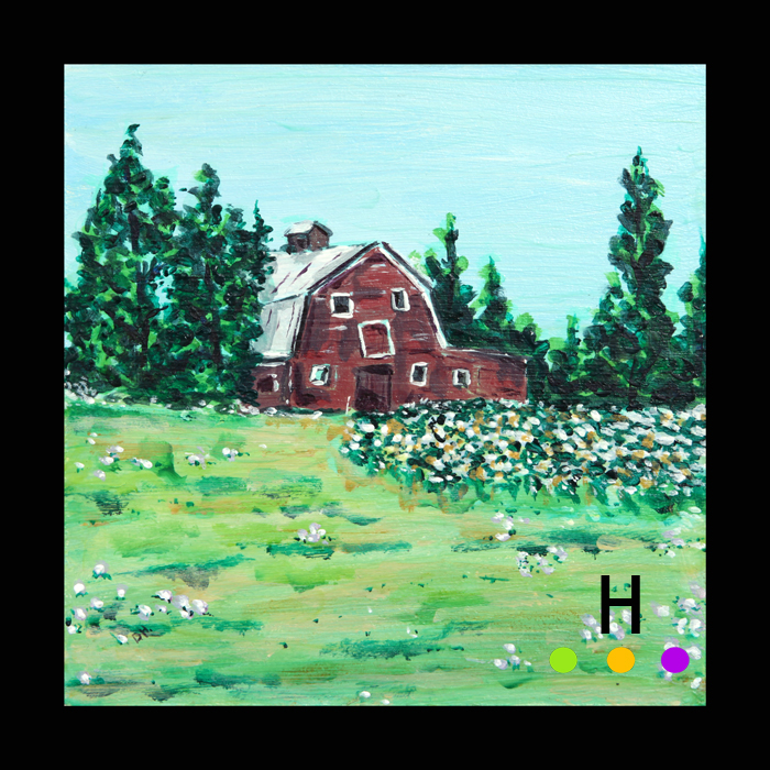 """""""Orville's Barn"""" 2014 acrylic on panel 6 inches by 6 inches"""