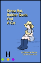 illustration _ cover straw hat rubber boots and a cat