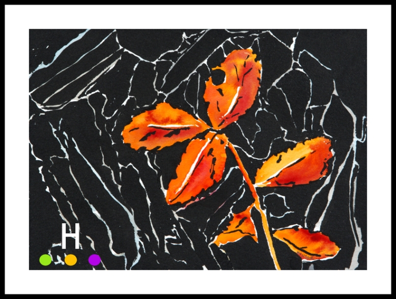 """Autumn Leaves"" (2015) 5""x7"" watercolor and ink on paper"