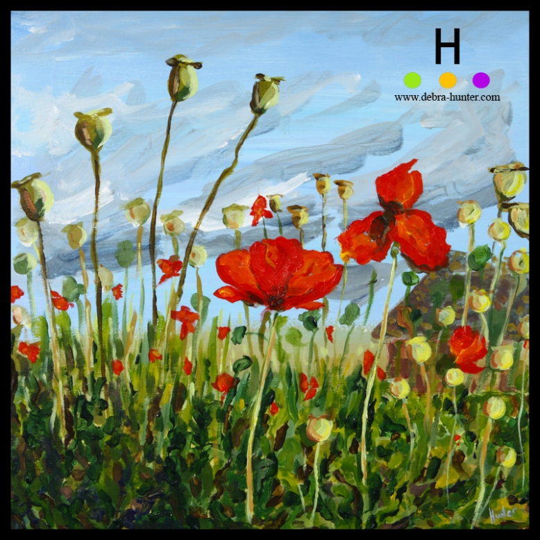 """Poppies"" (2015) 12""x12"" acrylic on panel"