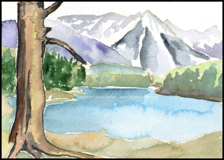 "Johnson Lake, Banff National Park - April 16, 2016 - 5""x7"" - watercolour on paper"