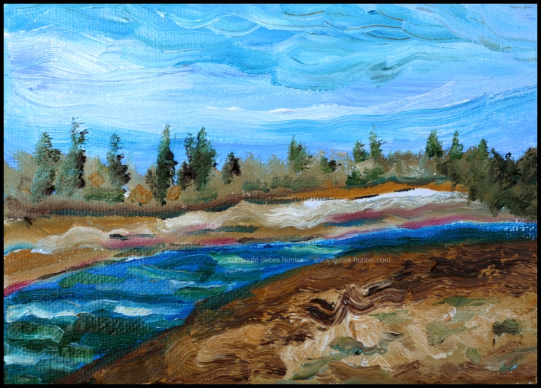 Red Deer River, April 15, 2016 - 5x7 - oil on canvas