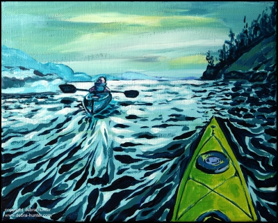 a painting depicting kayaking on the Salish Sea (acrylic on canvas)