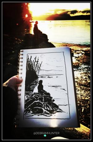 en plein air drawing at Roesland, Pender Island, BC, Canada