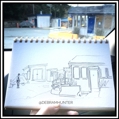 en plein air sketch at the ferry terminal on Pender Island