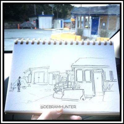 en plein air sketch at the ferry terminal on Pender Island