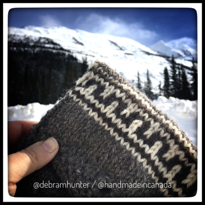 knit mini bag in progress at the top of the Rogers Pass