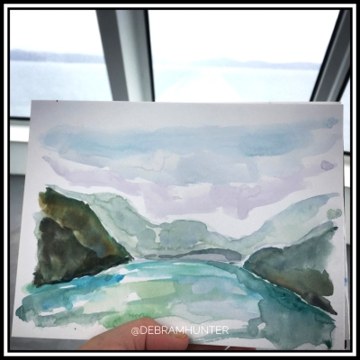 watercolor of the Salish Sea painted from a BC Ferry