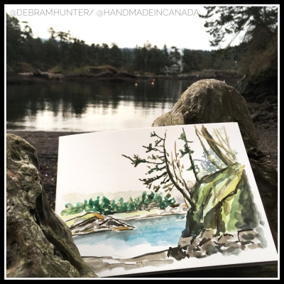 en plein air watercolor of Peter Cove South on Pender Island, BC